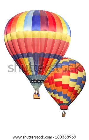 Hot air balloons on white background - stock photo