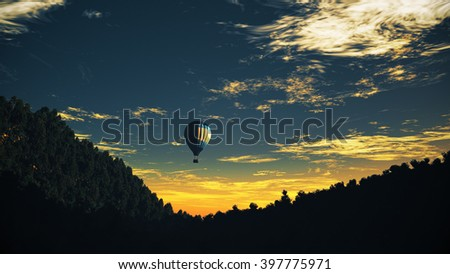 Hot Air Balloons over Lush Natural Wilderness Jungle in the Sunset Sunrise 3D Illustration