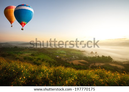 Hot air balloons over sea of mist - stock photo