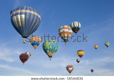 Hot air balloons participating in the Albuquerque Hot Air Balloon Festival. - stock photo