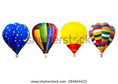 Hot air balloons set isolated on white background - stock photo