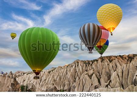 Hot air balloons sunset, Cappadocia, Turkey - stock photo