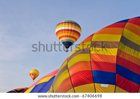 hot air balloons with blue sky background - stock photo