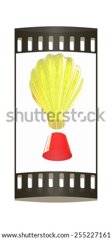 Hot Air Balloons with Gondola. Colorful Illustration isolated on white Background. The film strip - stock photo
