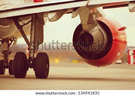 Hot air behind the aircraft engine. - stock photo