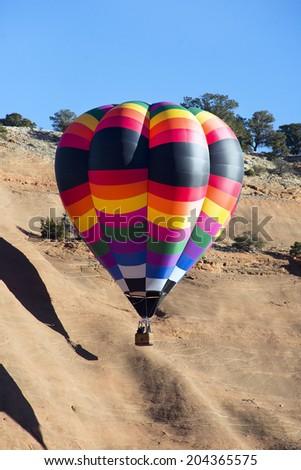 Hot air bolloons in flight. - stock photo