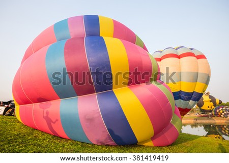 Hot air color balloon with blue sky