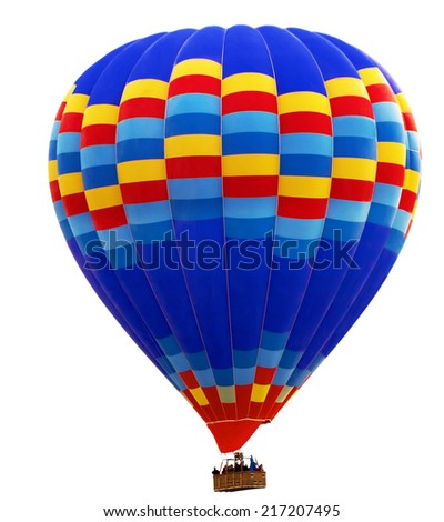 hot air striped balloon isolated on white background - stock photo