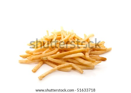 Hot and fresh French fries on a white background