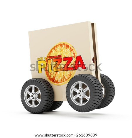 Hot and Fresh Pizza Fast Delivery Concept. Pizza Box with Fresh 3D Pizza Inside on Wheels isolated on white background - stock photo