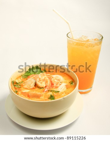 Hot and sour soup and shrimp in condensed water, Thai traditional food. - stock photo