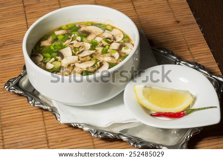 Hot and sour soup and shrimp in condensed water, Thai traditional food.Tom Yum Goong - stock photo