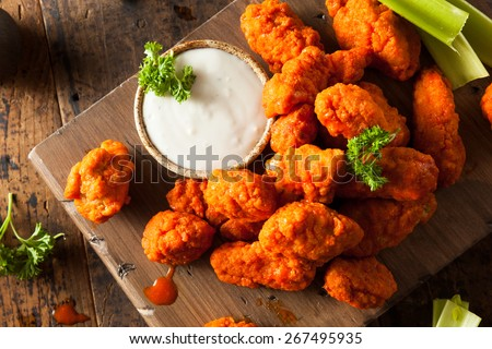 Hot and Spicy Boneless Buffalo Chicken Wings with Ranch - stock photo
