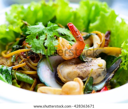 Hot and Spicy Seafood Pasta - Spaghetti (Thai style) with clams, prawns, squid.