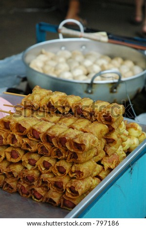 Hot and Spicy Thai Spring Rolls - stock photo