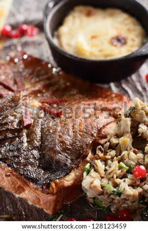 hot and tasty peaces of meat with garnish
