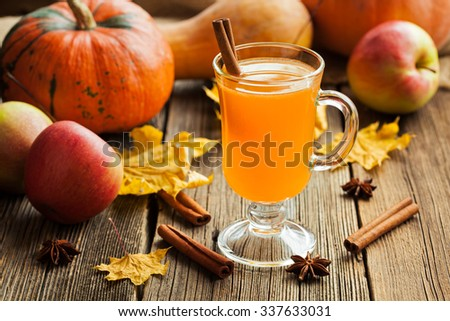 Hot apple cider healthy traditional winter christmas or thanksgiving holiday beverage. Sweet organic autumn drink with spices, cinnamon and anise on vintage wooden background. Rustic style. - stock photo