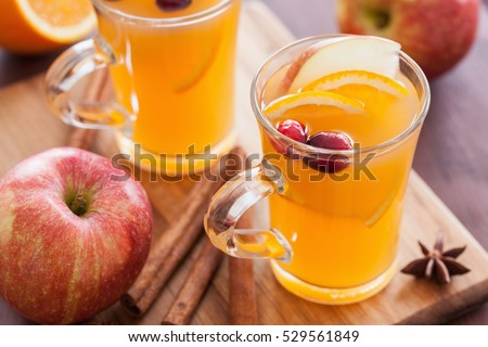 hot apple orange cider with cinnamon spice warming drink