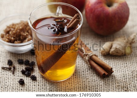 hot apple punch with cinnamon - stock photo