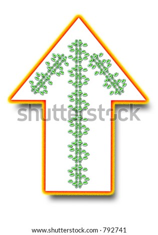 Hot arrow with dollar signs in the shape of an arrow - over white. - stock photo