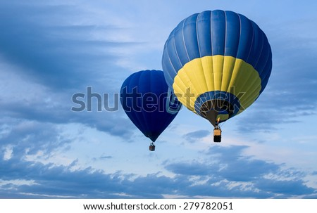 Hot balloons flying in the sky - stock photo