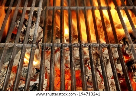 Hot BBQ Grill and Glowing Coals. Background and Texture with space for text or image. - stock photo