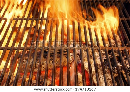Hot BBQ Grill and Glowing Coals. You can see more BBQ, grilled food, fire&flames in my set. - stock photo
