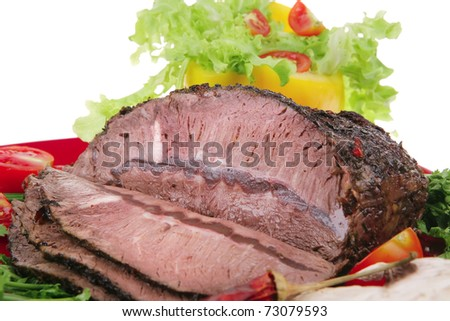 hot beef on red plate over white background - stock photo