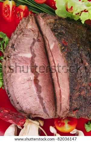 hot beef on red plate over white background