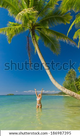 Hot Blonde Tanning Pleasure  - stock photo