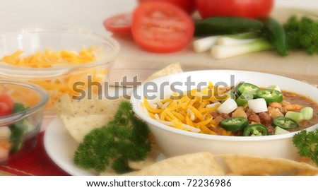 Hot bowl of Chili - stock photo