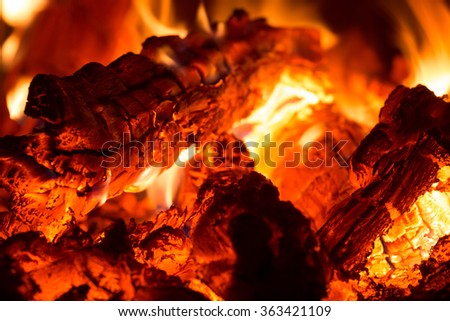 Hot Burning Charcoal with fire - stock photo