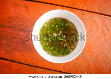 Hot cambodian broth. Traditional khmer style soup. - stock photo