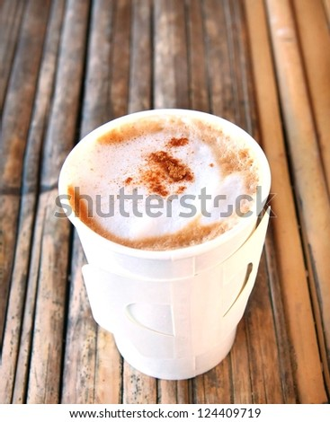 hot cappuccino in paper cup - stock photo