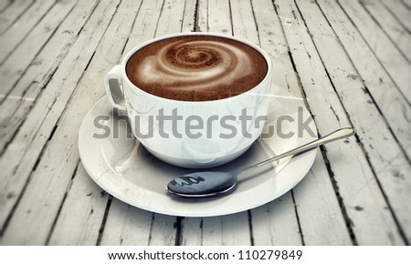 hot cappuccino in white ceramic cup on wooden white table - stock photo