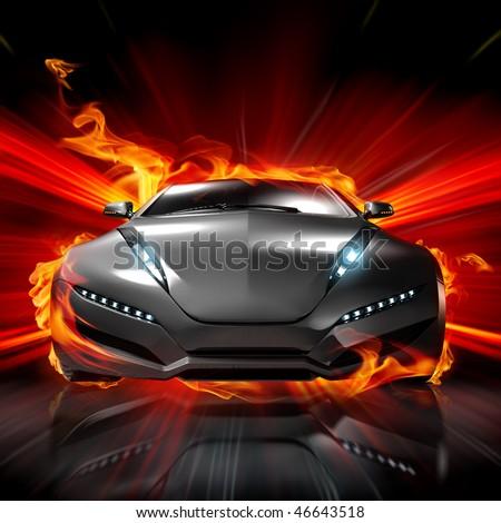 Hot car. My own car design. - stock photo