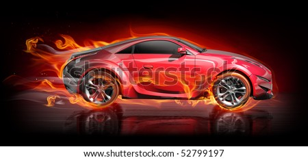 Hot car. My own car design. - stock photo
