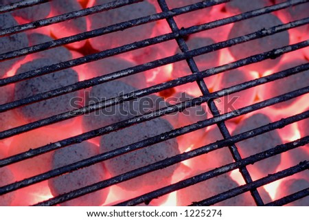 hot charcoal barbecue grill - stock photo