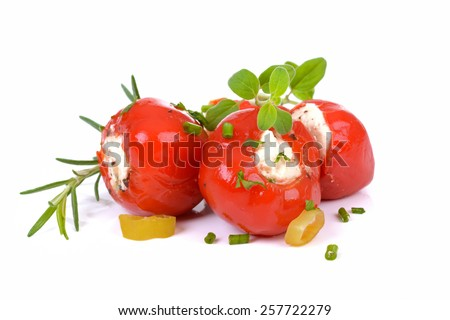 Hot Cherry Peppers stuffed with feta and cream cheese - stock photo