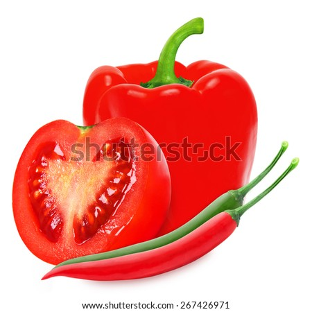 Hot chilli, red paprika and ripe tomato isolated on a white background  - stock photo