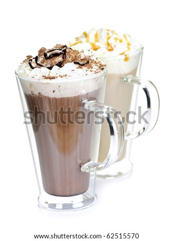 Hot chocolate and coffee beverages with whipped cream isolated on white background - stock photo