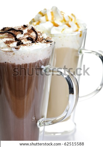 Hot chocolate and coffee latte beverages with whipped cream - stock photo