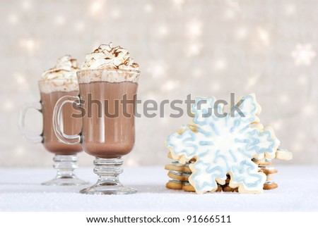 hot chocolate and cookies on winter background - stock photo