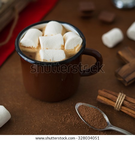 Hot Chocolate and Marshmallows in Vintage Mug. Square Format.