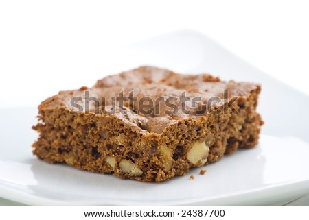 hot chocolate brownie with walnuts and vanilla isolated