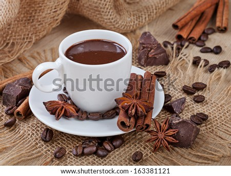 Hot chocolate, chocolate chips, cinnamon and star anise - stock photo