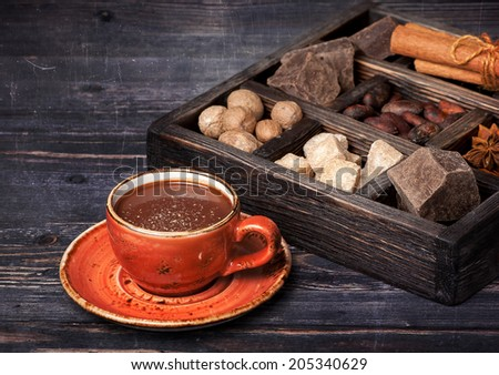 Hot chocolate, chocolate, cocoa beans  and spices - stock photo