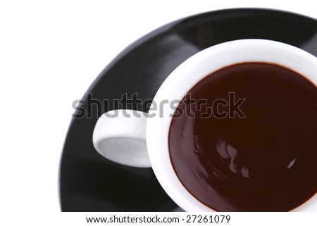 hot chocolate drink in white mug top view close up