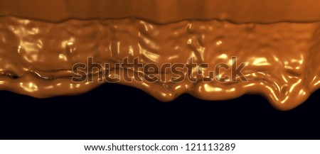 Hot chocolate flow or cocoa filling the screen over black background - stock photo