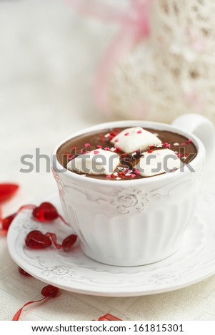 Hot chocolate for Valentines day - stock photo
